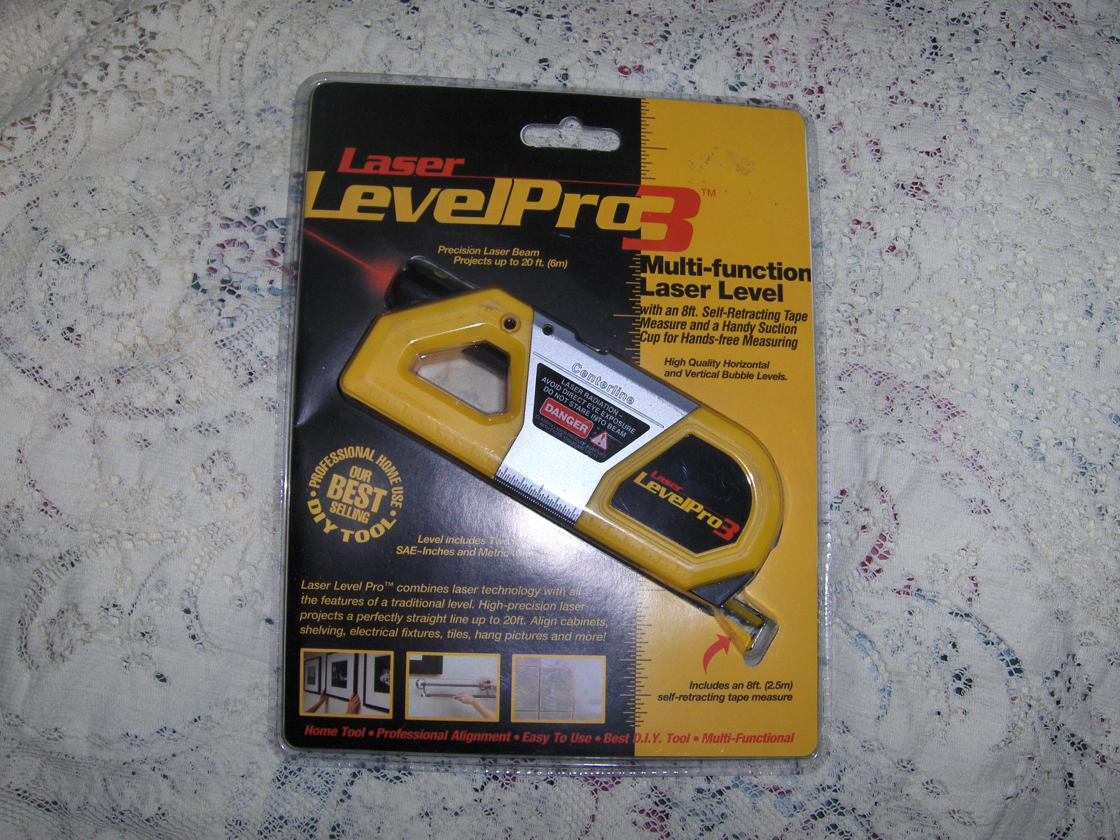 laser level pro3 with tape measure batteries included new. Black Bedroom Furniture Sets. Home Design Ideas