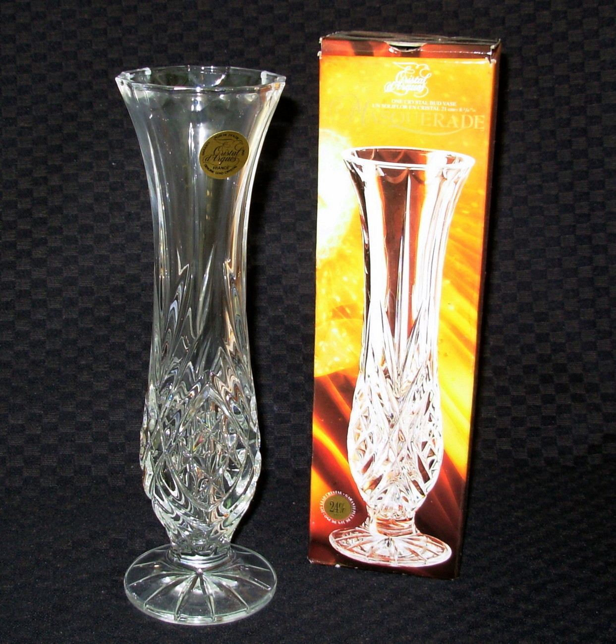 cristal d 39 arques france masquerade crystal bud vase vases. Black Bedroom Furniture Sets. Home Design Ideas