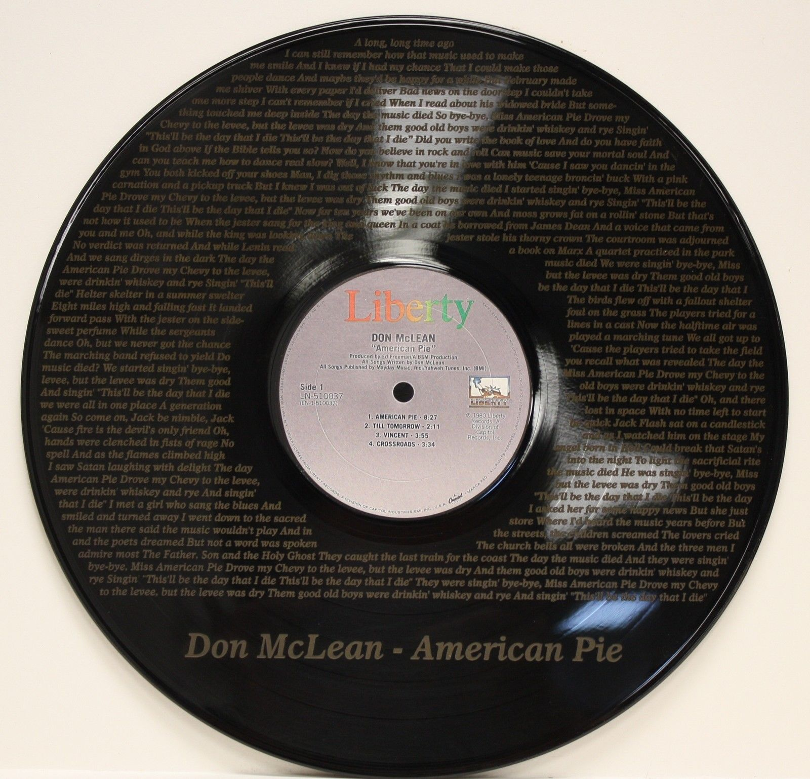 don mclean vinyl lp etched w artist 39 s songs lyrics ltd. Black Bedroom Furniture Sets. Home Design Ideas