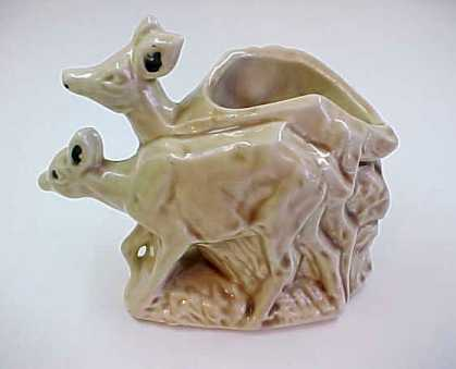 Vintage 1950's McCoy Pottery Planter with Two Fawn