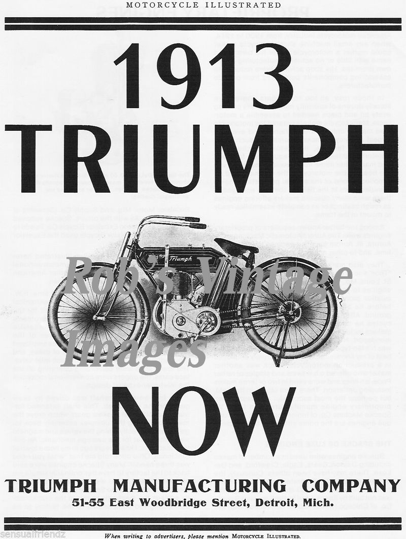old vintage triumph motorcycle antique ad poster england  usa 1913