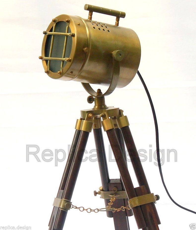 Telescopic tripod table searchlight lamp wooden timber stand lighting spotlight table lamps - Tripod spotlight table lamp ...