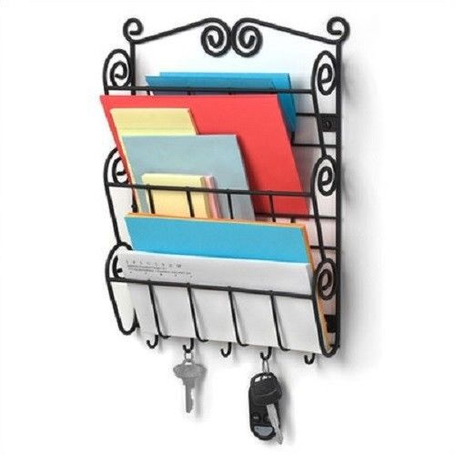 Wall Mount Scroll Letter Holder Mail Organizer Key Rack Foyer Kitchen Office New Key Letter