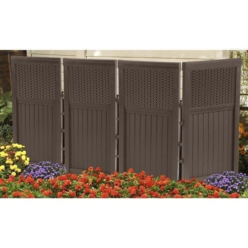 Outdoor Screen 4 Panel Wall Divider Pool Deck Hot Tub Privacy Fence ...