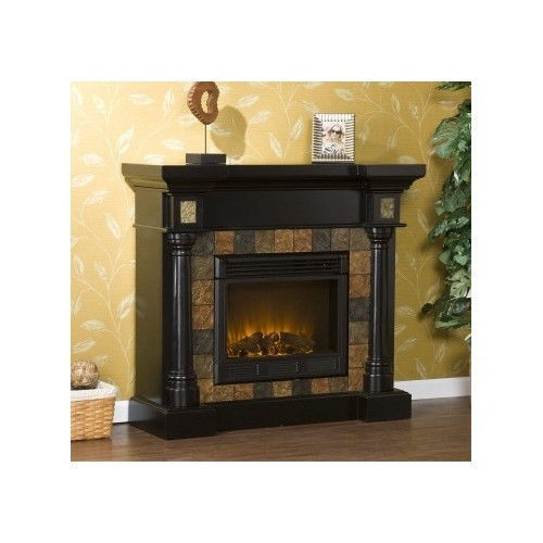 Black Finish Antique Oak Wood Electric Fireplace Mantle Media Heater Tv Stand Fireplaces