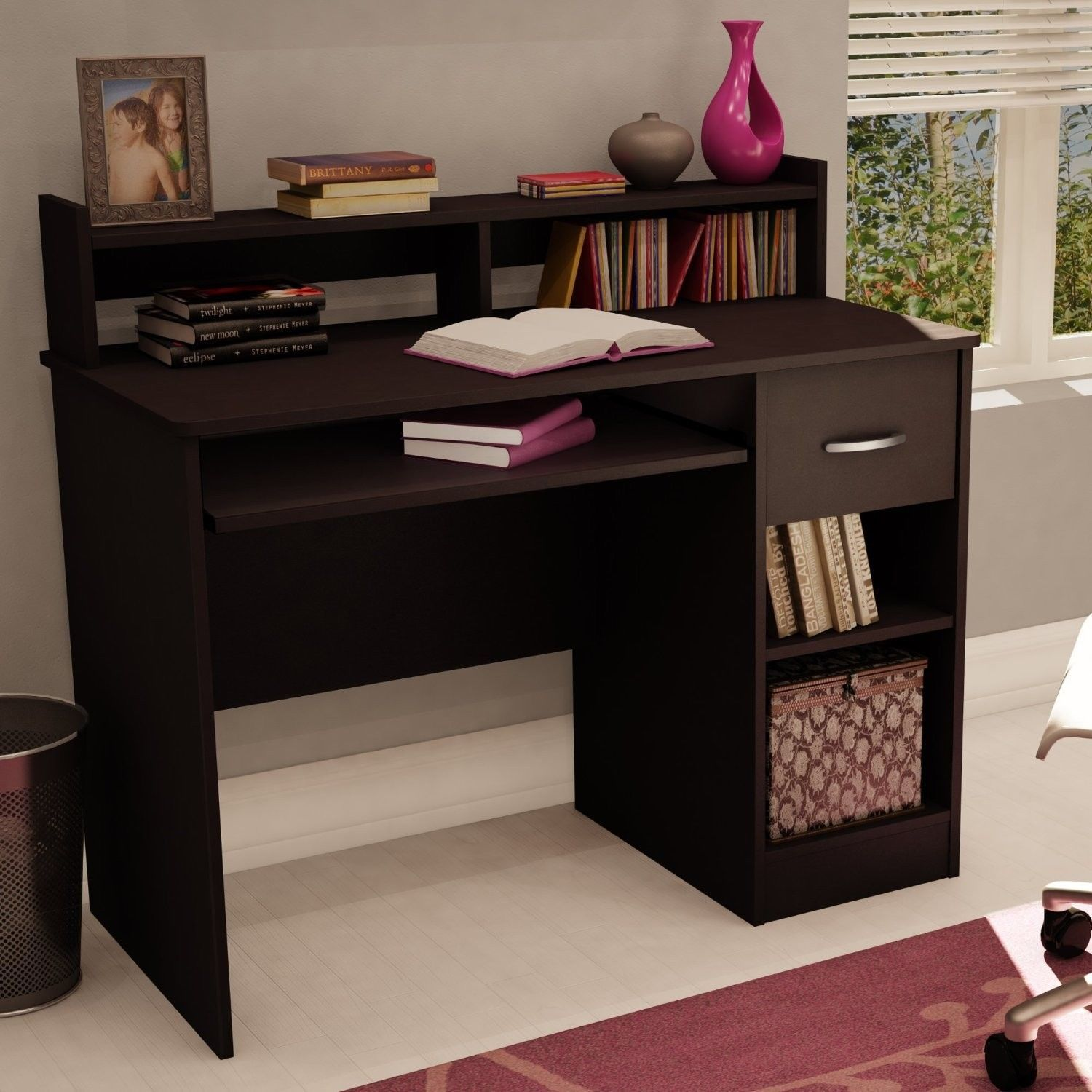 modern student office computer desk chocolate furniture computer laptop drawer desks home. Black Bedroom Furniture Sets. Home Design Ideas