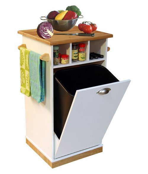 Pantry Tower W/Butcher Block Top Cart Kitchen Island