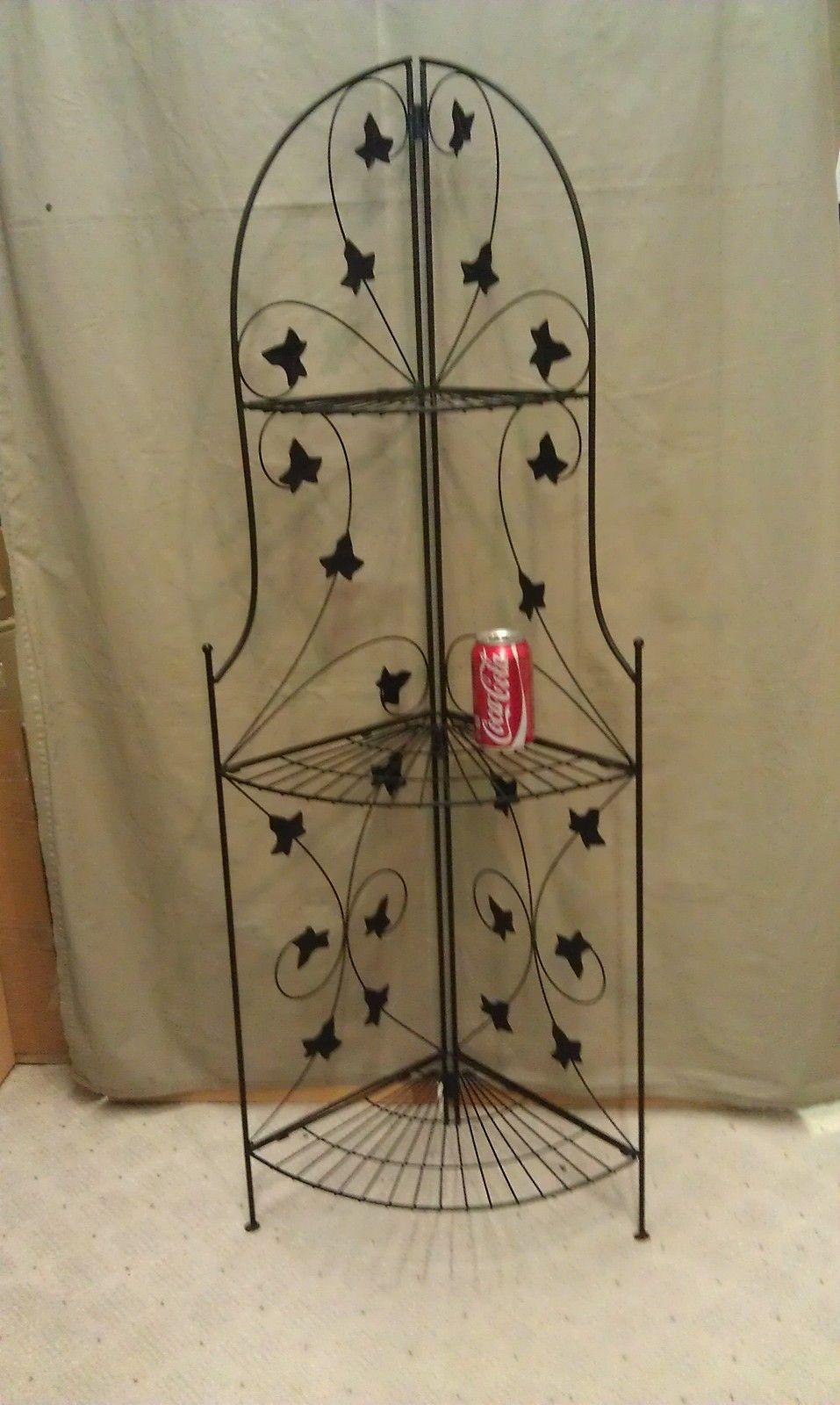 9k11 black wrought iron 3 tiered corner shelf 50 tall. Black Bedroom Furniture Sets. Home Design Ideas