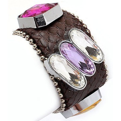 Crystal Buttons on Leather Bracelet