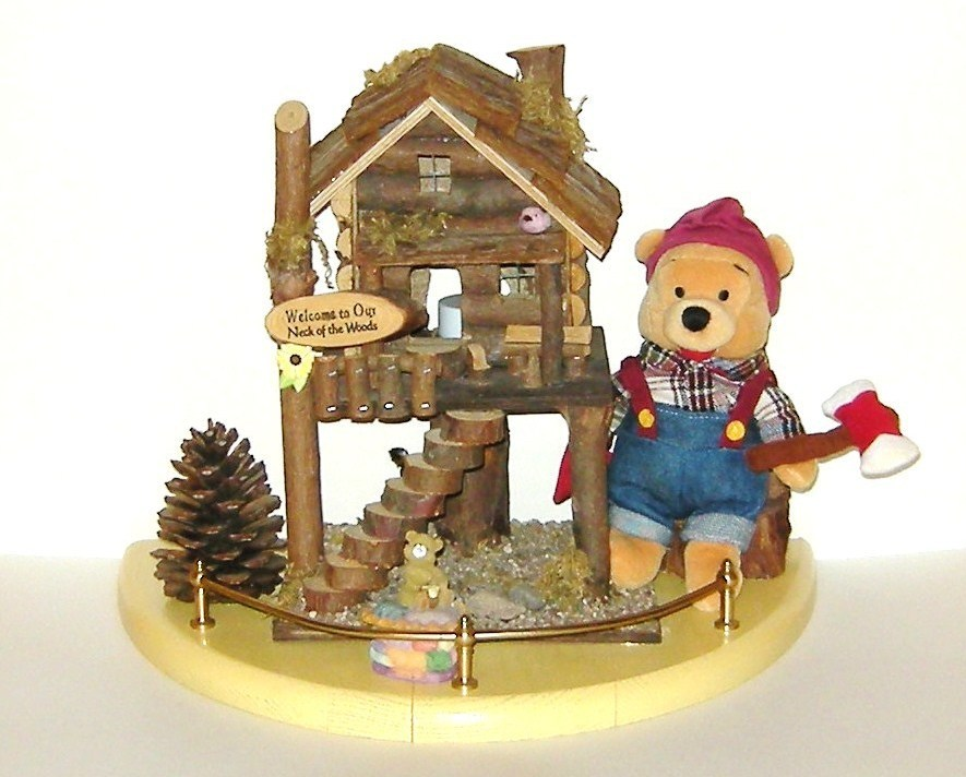 Large Rustic Wood Birdhouse on Base with Winnie the Pooh Plush 16