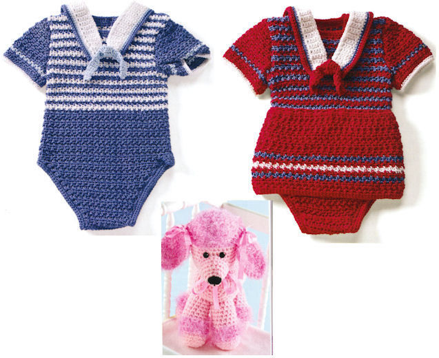 50+ Baby Crochet Patterns Sailor Suit Diaper Bag Afghans Easy as 1-2-3 ...
