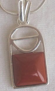 Mini blood stone window pendant A