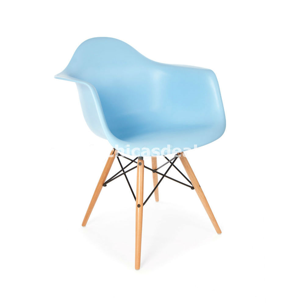 Mid century modern eames daw style blue molded plastic chair accent