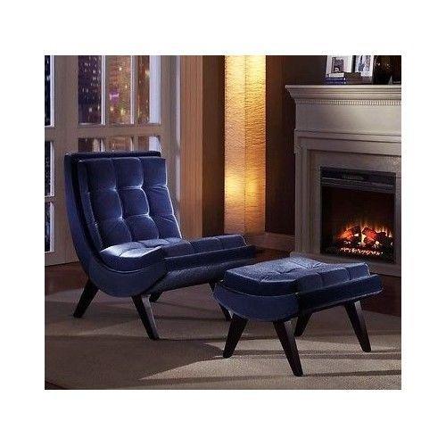 Chair And Ottoman Set Velvet Espresso Wood Furniture