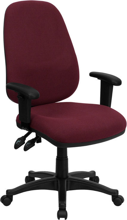 Flash High Back Burgundy Fabric Ergonomic Computer Chair Height Adjustable Ar
