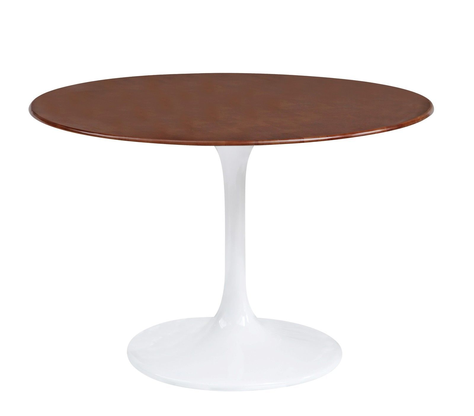 Saarinen Tulip Style 42 Round Walnut Top White Dining Table Tables