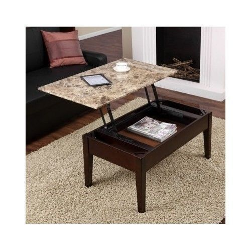 Lift Top Coffee End Table Wood Furniture Marble Storage Console Chest Dining New Tables
