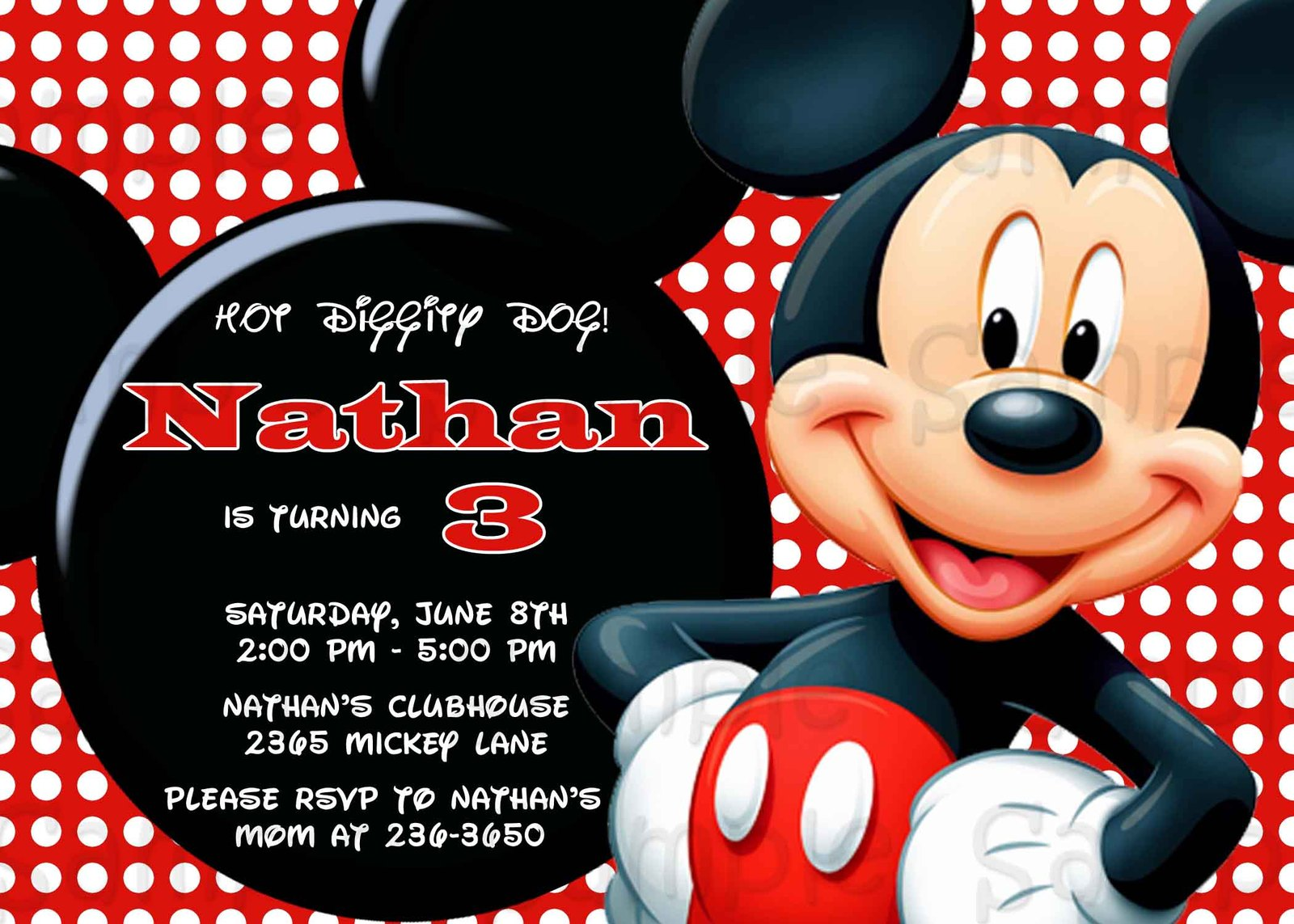 mickey mouse invitation printable birthday custom personalized greeting cards invitations