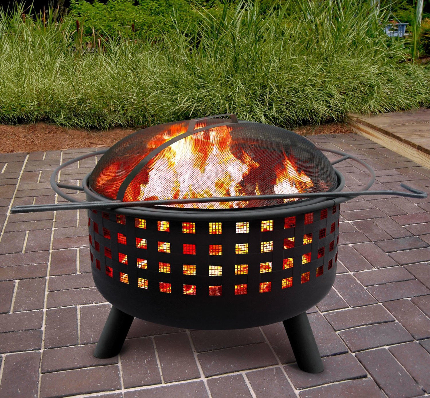 Metal Fire Pit Black Outdoor Patio Backyard Camping Deck Cooking Grill Fireplace Fire Pits