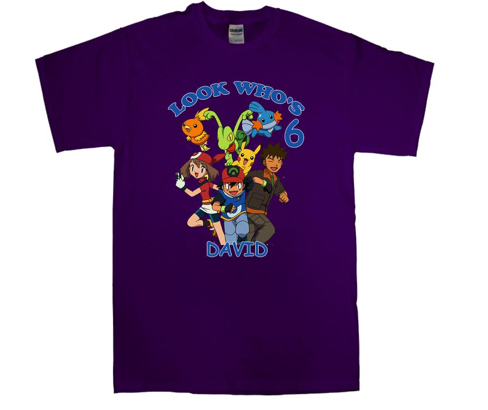 Pokemon group personalized purple birthday shirt t shirts for Unique custom t shirts