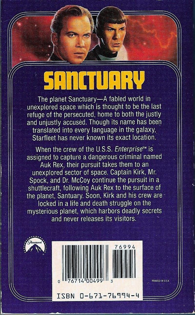 Image 1 of Star Trek Original Series Sanctuary No 61 by John Vornholt 1992 PB