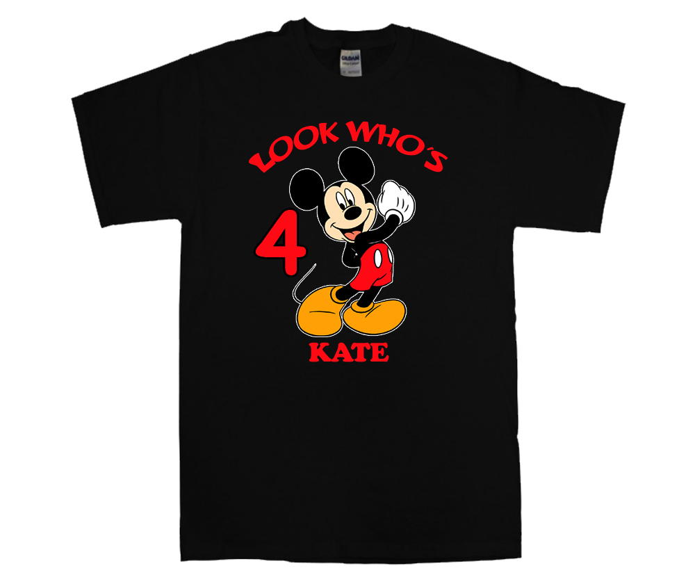 mickey mouse personalized black birthday shirt t shirts. Black Bedroom Furniture Sets. Home Design Ideas