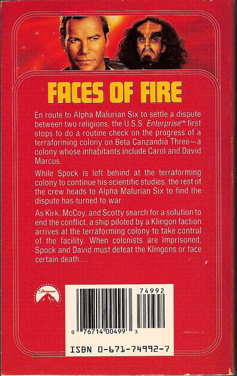 Image 1 of Star Trek TOS Faces of Fire No 58 by Michael Jan Friedman 1992