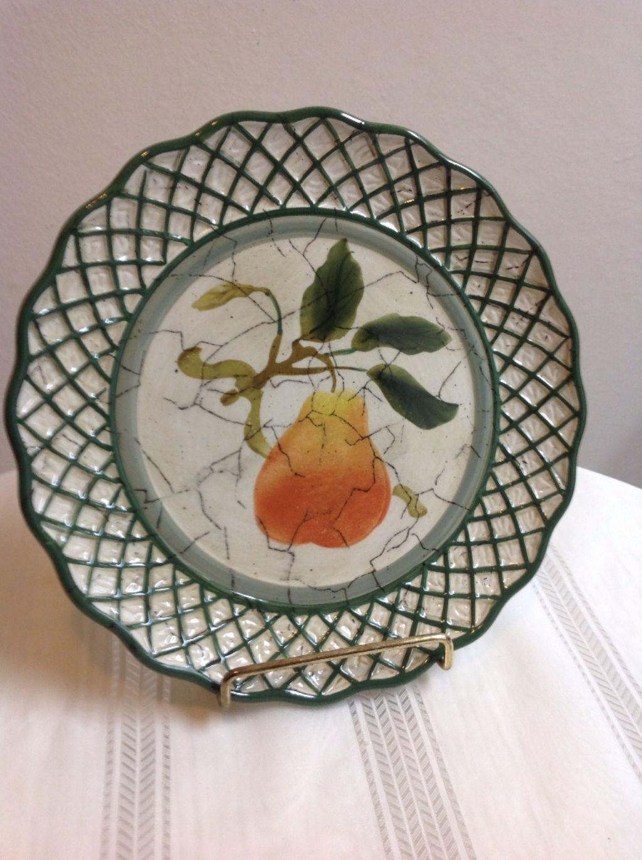 Decorative Wall Plates Nz : Wall plate cornucopia pear design raymond waites green