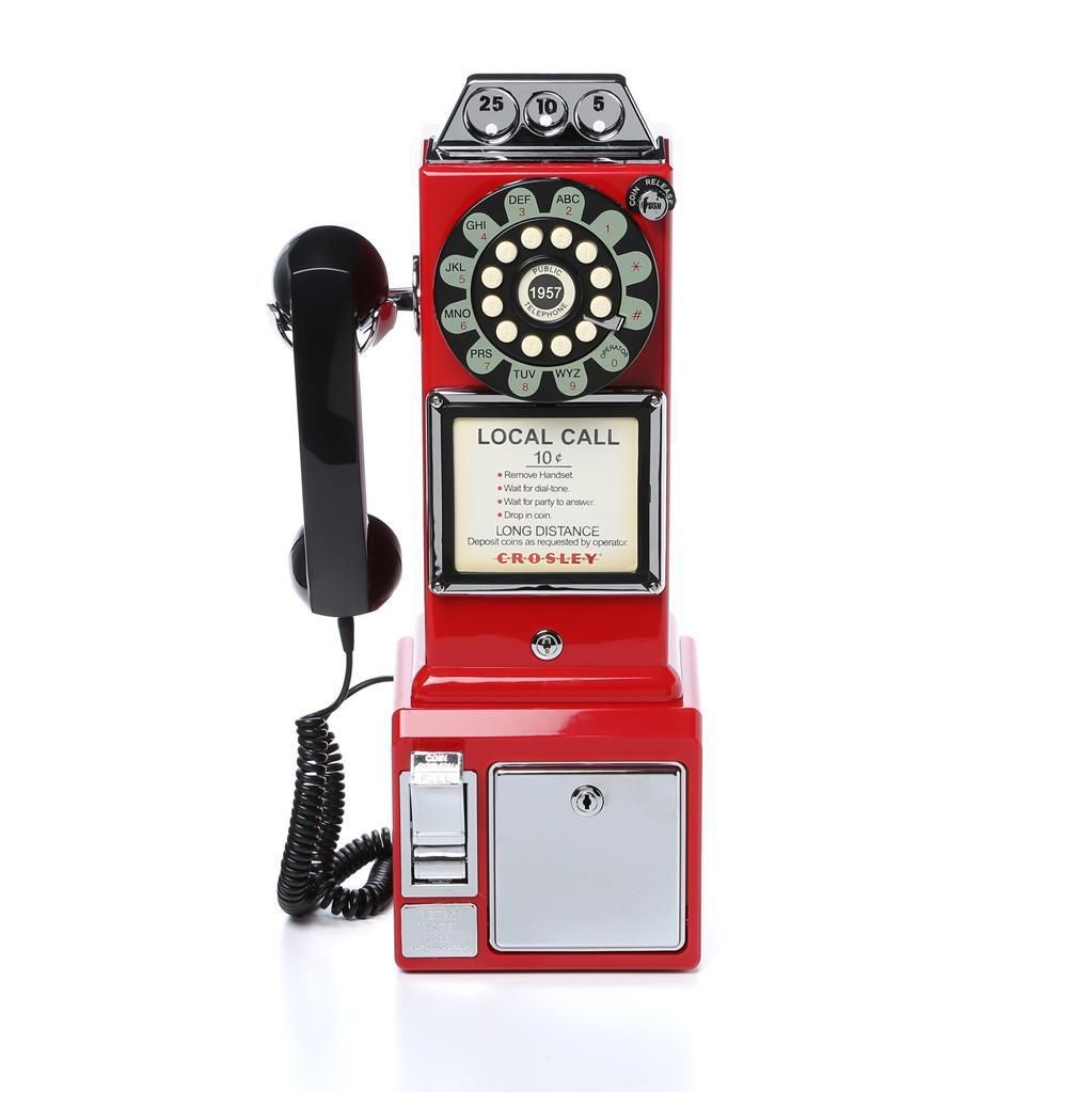 red crosley classic retro phone wall old vintage telephones phones corded bar corded telephones. Black Bedroom Furniture Sets. Home Design Ideas