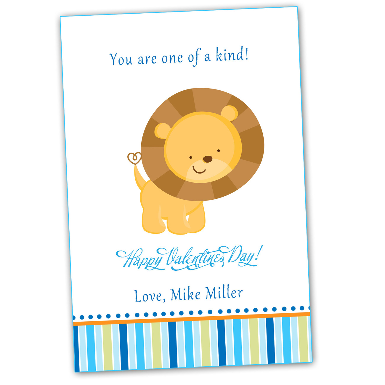 Personalized valentines love day card cute lion blue kids children