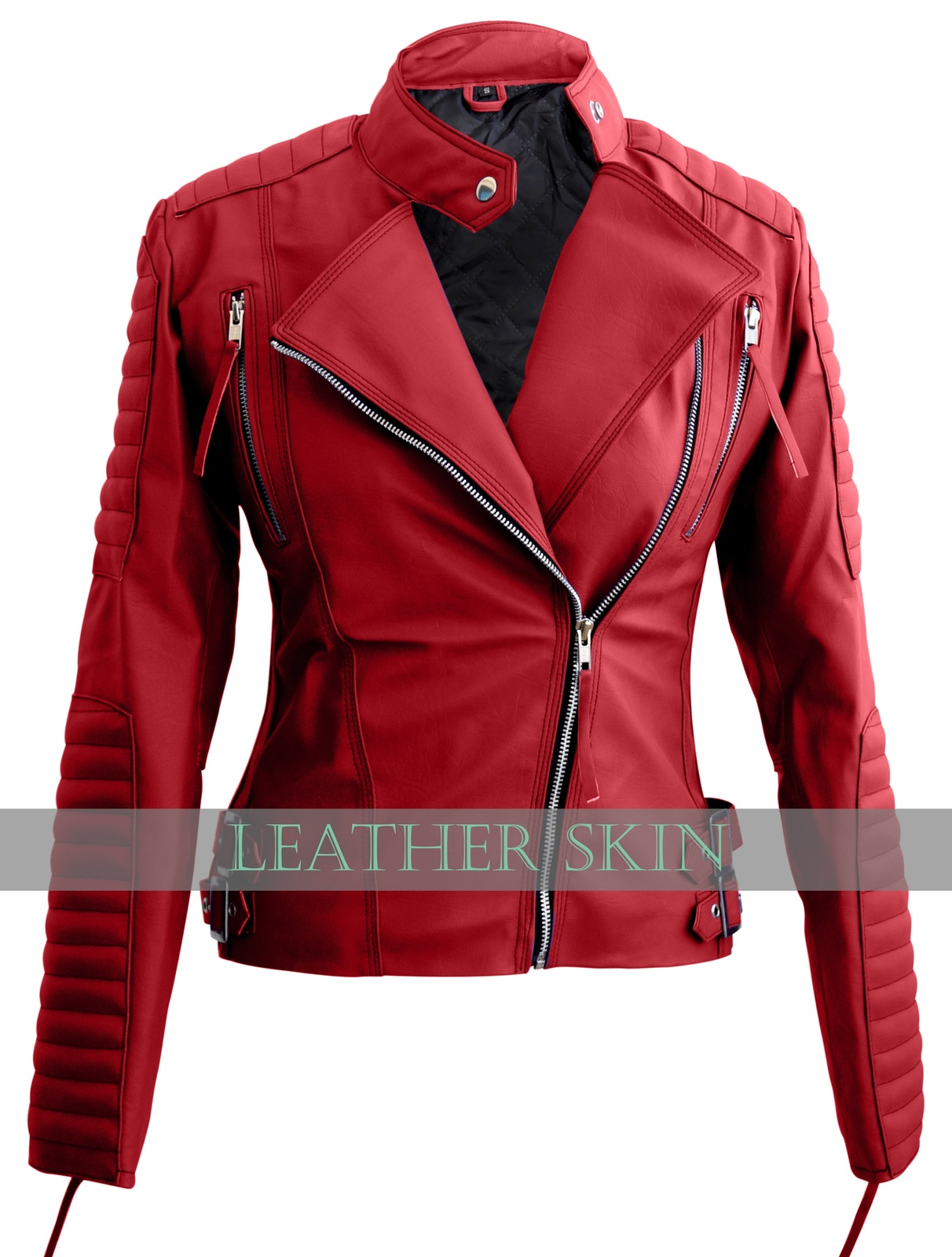 ladies red leather jacket - photo #32