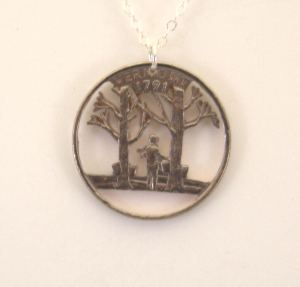 vermont cut out coin jewelry necklace pendent