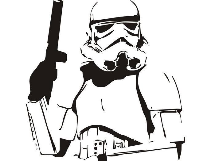 Stormtrooper Stencil Artwork Star Wars BW 24x18 Print