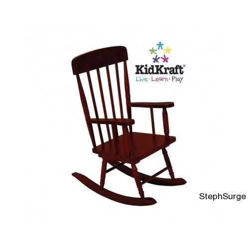 KidKraft Modern Spindle Rocking Chair Cherry Stool Furniture Baby Bar ...