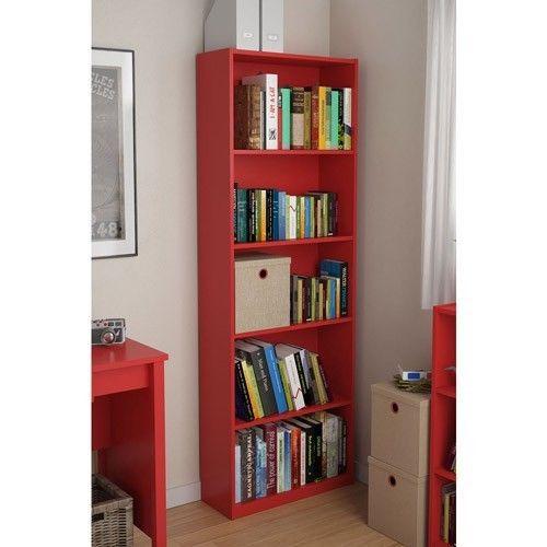 Red 5 Shelf Bookcase Nursery Shelving Bookshelf Furniture Wood Shelves ...