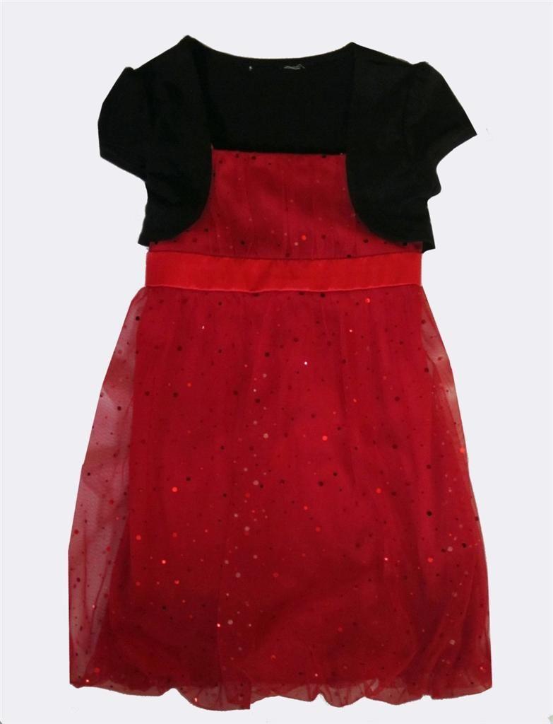 Girls short sleeve red amp black christmas party dress 5 dresses