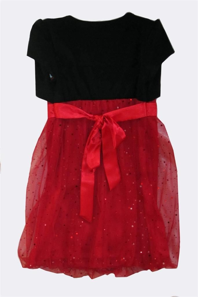 Nordstrom's 109 Little Girls Short Sleeve Red  Black Christmas Party ...