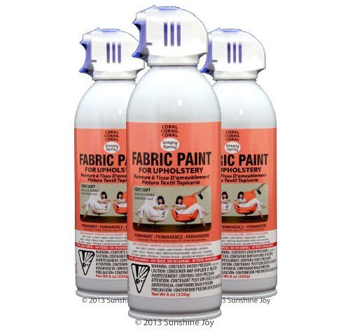 simply spray upholstery fabric spray paint 8 oz can 3 pack coral. Black Bedroom Furniture Sets. Home Design Ideas