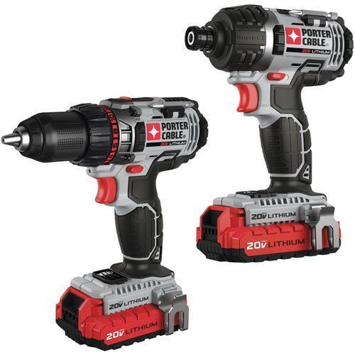 Drill Lithium Set of 2 Combo Porter Cable 20 Volt - Combination Sets