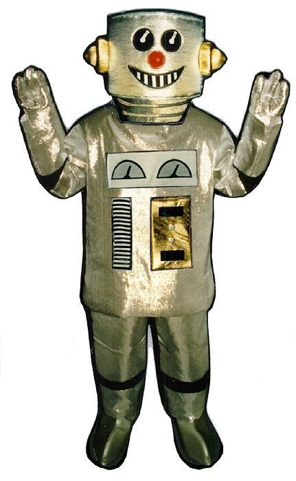 PROFESSIONAL MADE TO ORDER SILVER ROBOT MASCOT COSTUME