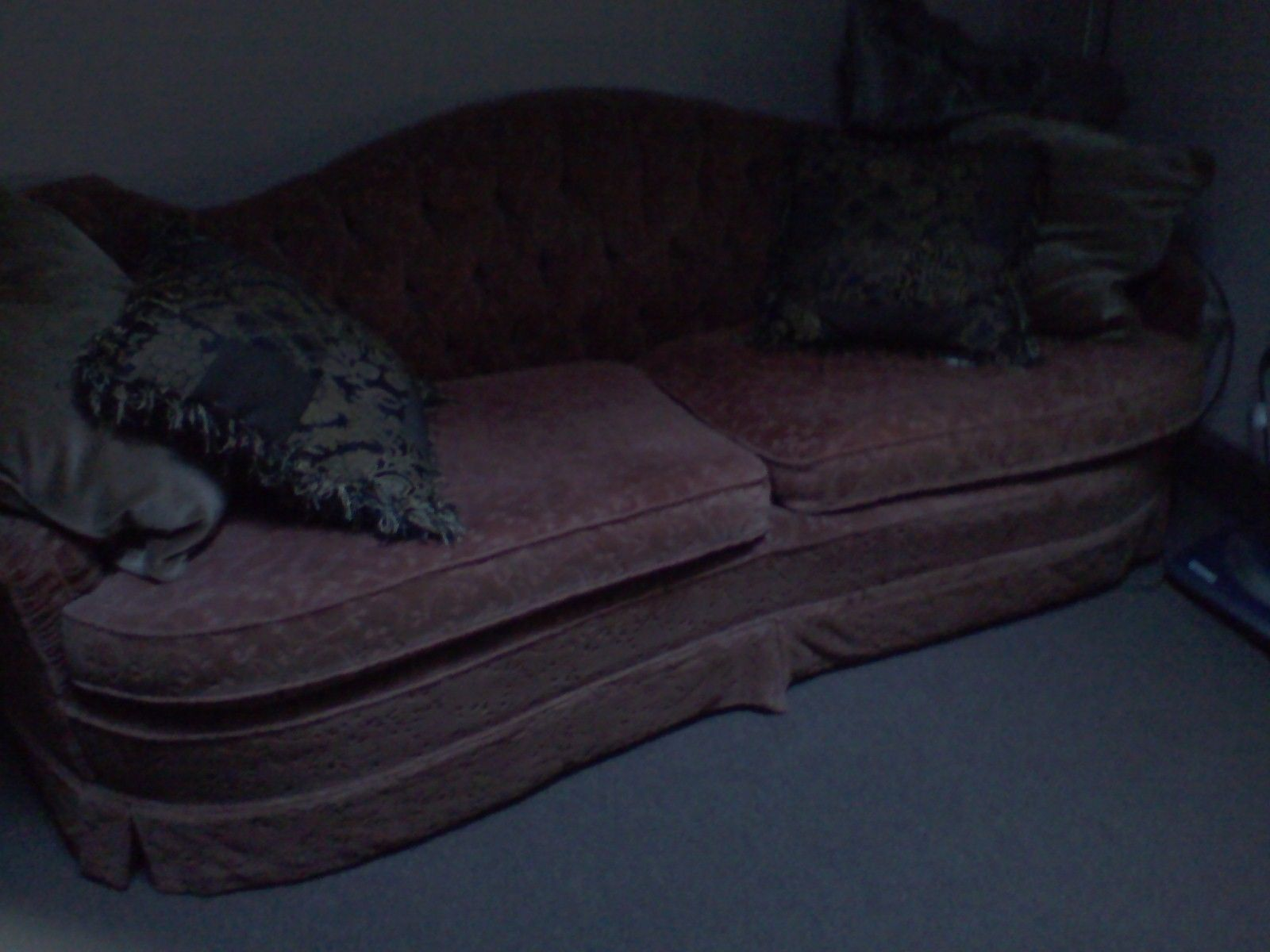 Red maroon vintage antique couch sofa divan chaise for Divan vintage