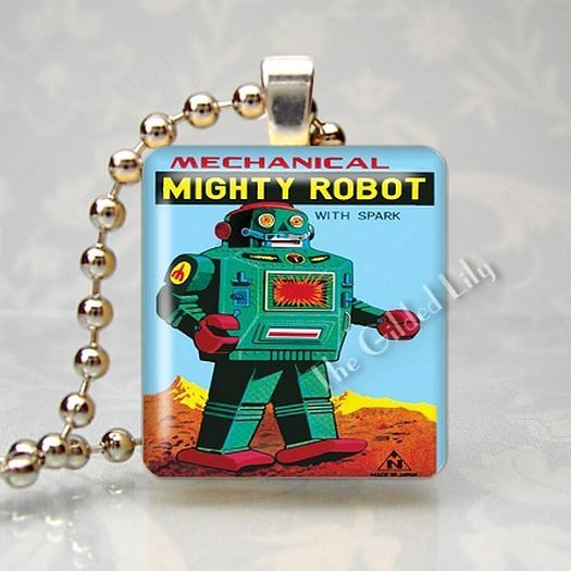 VINTAGE TIN TOY ROBOT Scrabble Tile Art Pendant Charm