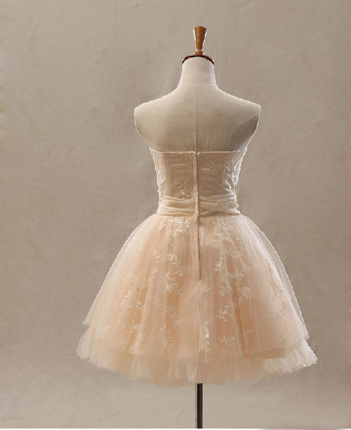 Strapless simple embroidery corset champagne short for Simple corset wedding dresses