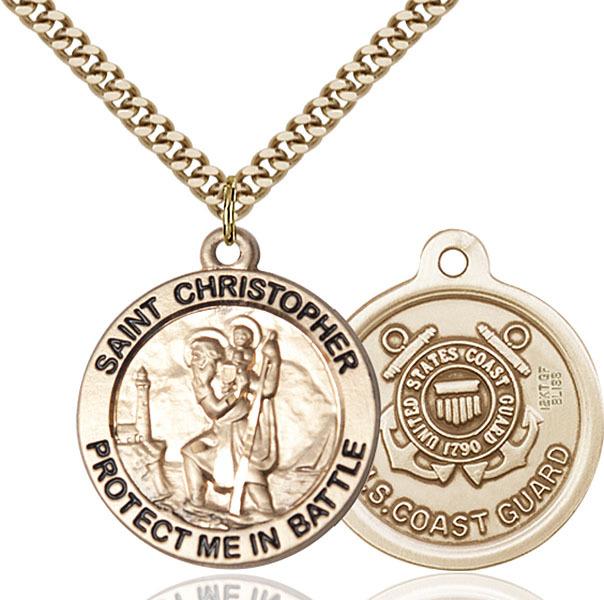 large gold filled st christopher coast guard medal. Black Bedroom Furniture Sets. Home Design Ideas