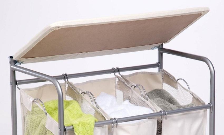 laundry sorter ironing board combo 3 bin mobile rolling dirty clothes hamper new hampers. Black Bedroom Furniture Sets. Home Design Ideas