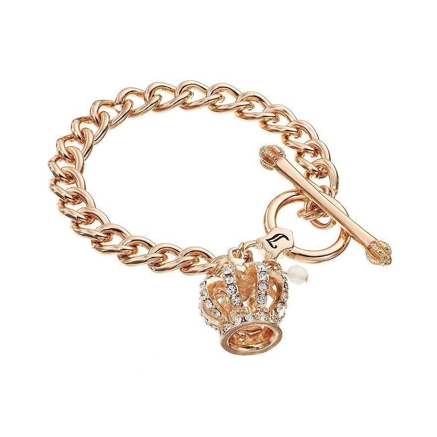 NEW! Juicy Couture Crown Charm Toggle Bracelet Rose Gold