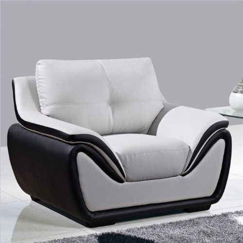 Grey black bonded leather easy chair plush contemporary for Small stuffed chairs