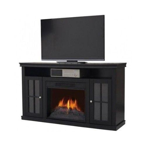 entertainment media fireplace console center 55 tv stand cabinet shelf electric tv mounts. Black Bedroom Furniture Sets. Home Design Ideas