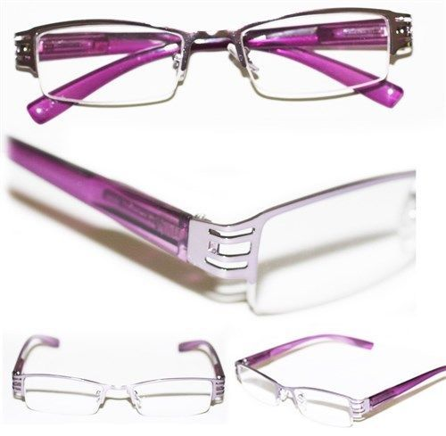 Reading Glasses BRUSHED METAL Cut-Out Frame Narrow Lens ...