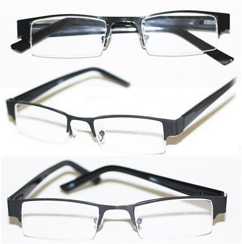 Narrow Frame Reading Glasses : Reading Glasses BRUSHED METAL SLEEK Bottomless BLACK Frame ...